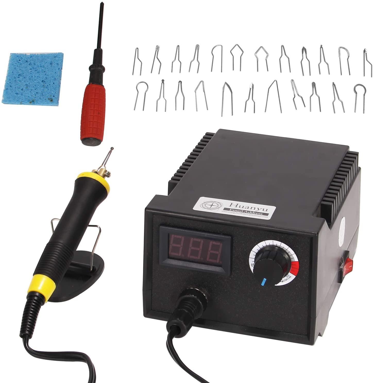 Huanyu Wood Burning Machine Kit 23 Tips 40W Pyrography Machine Digital Indicating Temperature Adjustment Multifunction Wood Craft Tool Set (110V, with Ordinary Pen Holder)