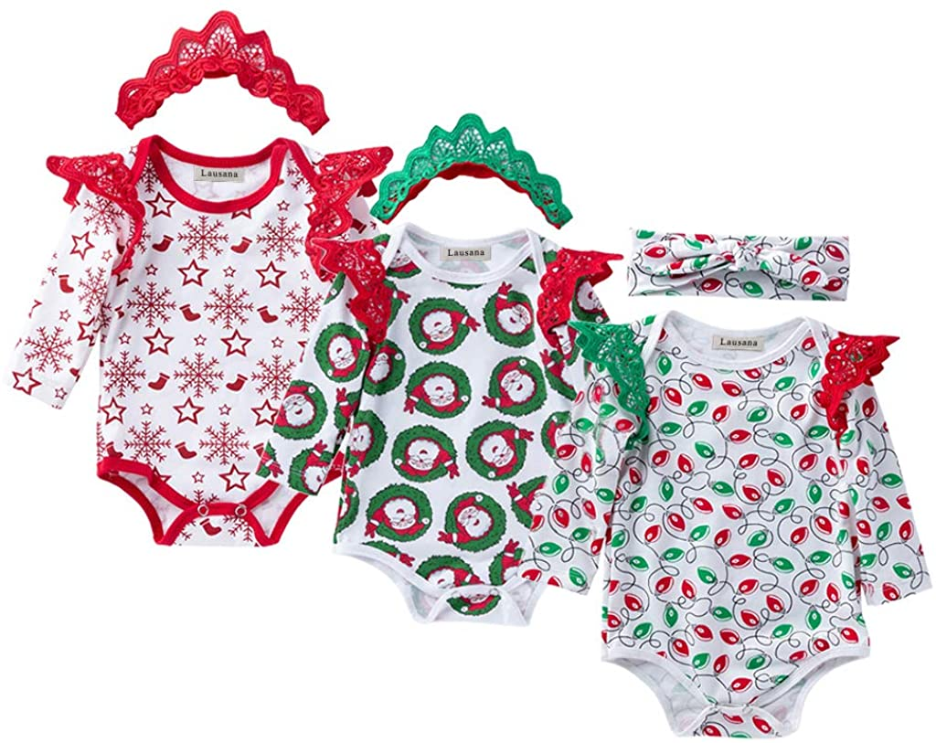 Lausana Baby Long Sleeve Bodysuit, Organic Cotton Onesies with Headband, 3 Pack One-Piece Rompers (Unisex, 0-24 Months)