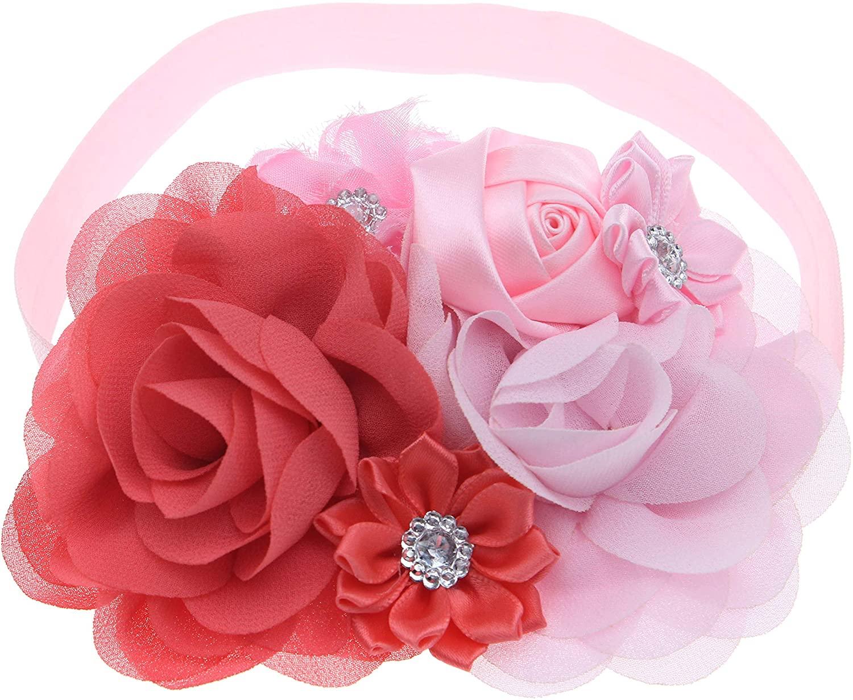 Bloomposh Baby Girls Big Flower Headbands Newborn Hair Bows Infant Hairbands Toddlers Headwear (Pink)