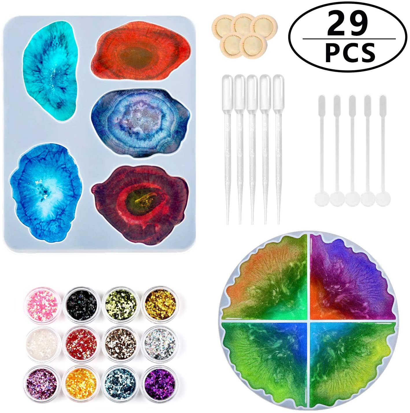 29 PCS Silicone Resin Molds Set, 2 PCS Large Size Irregular Coaster Molds,12 PCS Glitter Sequins and 15 PCS Resin Tools Kit for DIY Making Coasters Cups Mats Home Decoration