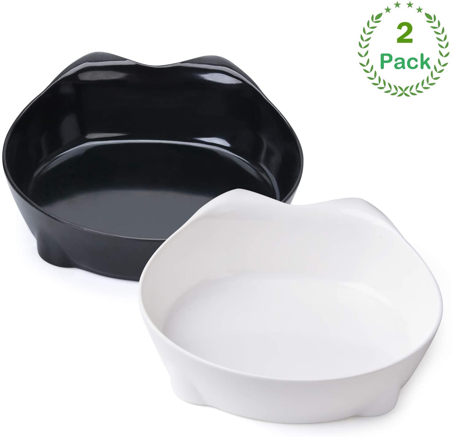 XPangle Cat Bowl, Shallow Cat Food Bowls,Wide Cat Dish,Non Slip Cat Feeding Bowls,Cat Food Bowl for Relief of Whisker Fatigue Pet Food & Water Bowls Set of 2(Safe Food-Grade Melamine Material)