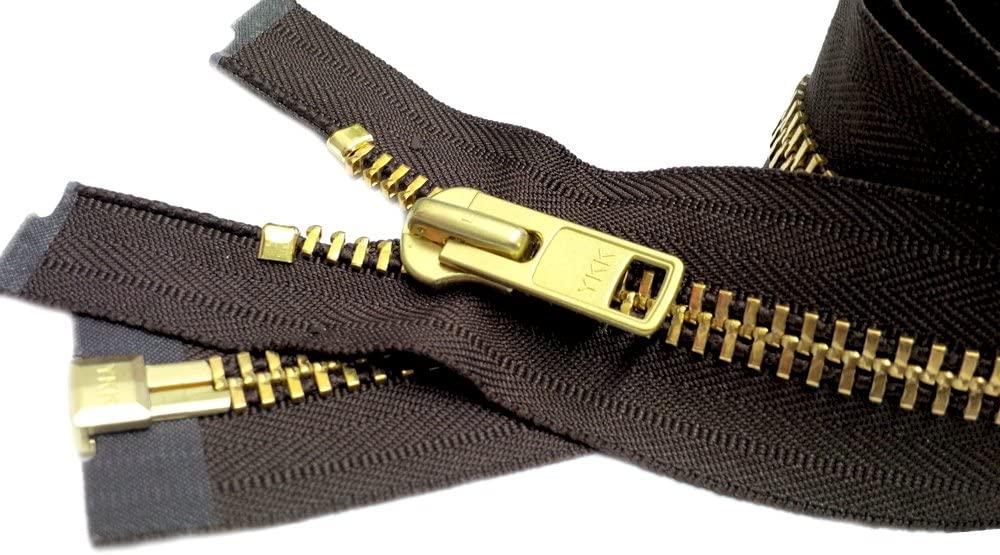 YKK Sale 32 Extra Heavy Duty Jacket Zipper YKK #10 Brass Separating ~ Color 570 Sept. Brown (1 Zipper/Pack)