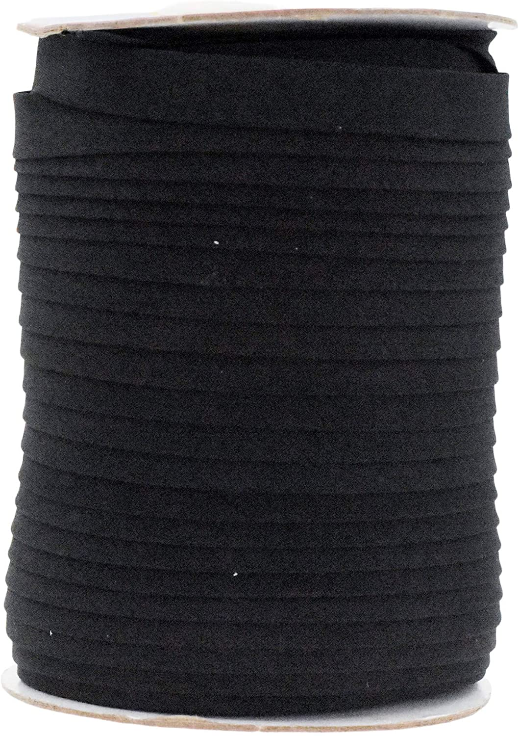Double Fold Bias Tape for Sewing, Seaming, Binding, Hemming, Piping, Quilting; by Mandala Crafts (1/2 Inch 55 Yards, Black)