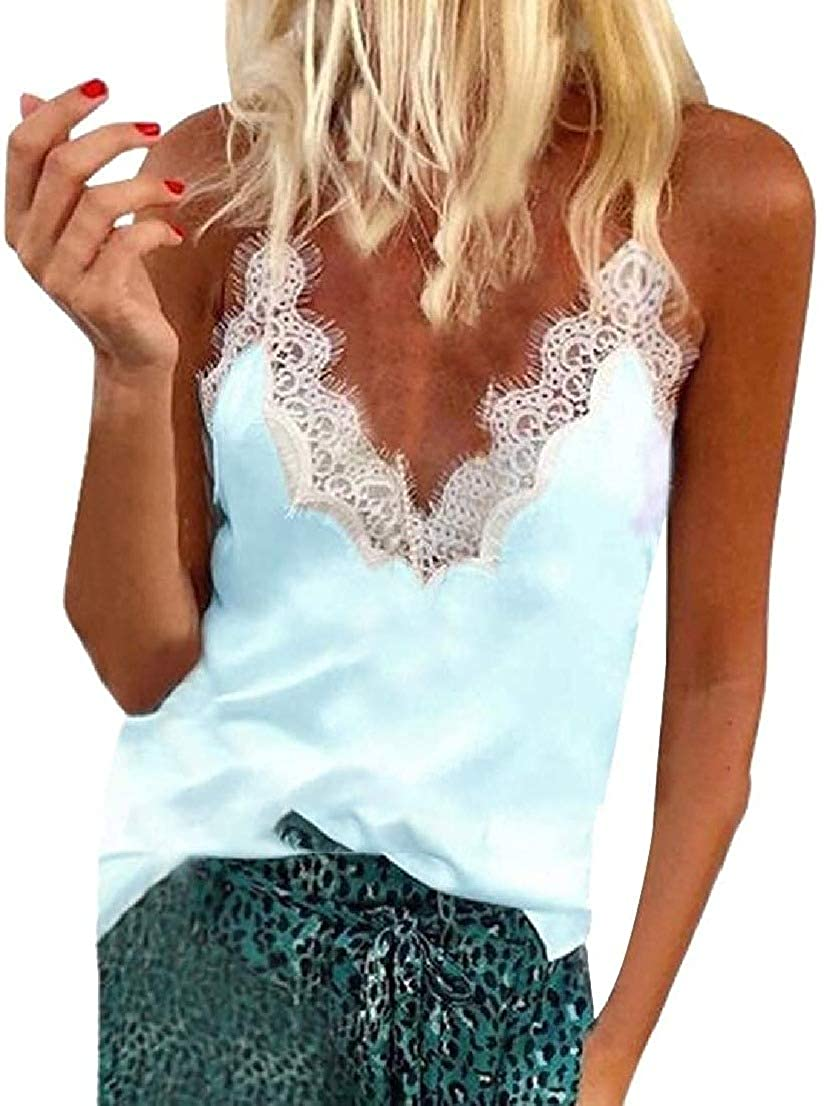 Wilngo Women's Tank Tops Camisole Fashion Lace Satin Silky Camisoles Sexy