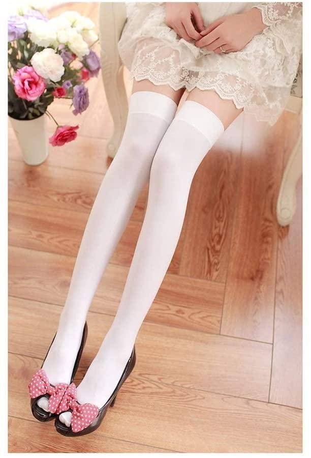 Ocean Snow Thigh Socks Velvet Nylon Women Over Knee Stockings Solid Stripes Black White Stockings Tights Fashion Bottom (Color : Sold White)