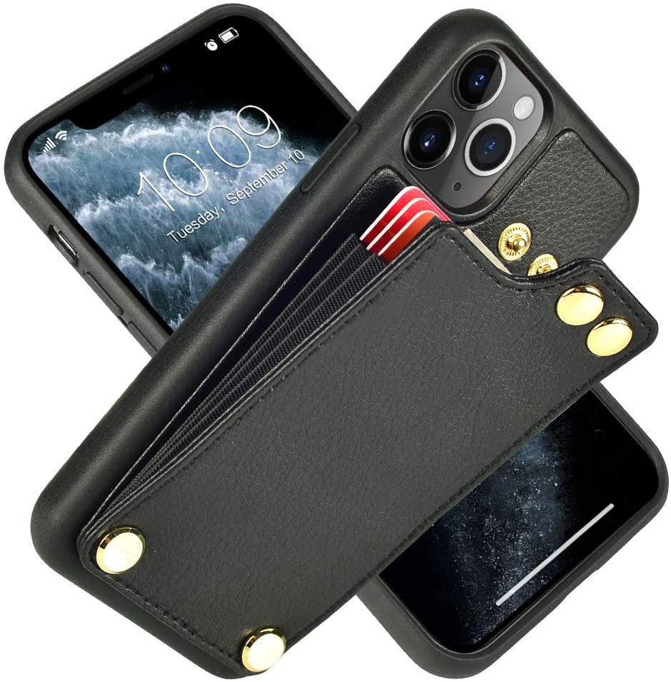 LAMEEKU iPhone 11 Pro Max Case Wallet, iPhone 11 Pro Max Wallet Case with Card Holder, iPhone 11 Pro Max Leather Case with Credit Card Slot, Protective Cover for Apple iPhone 11 Pro Max (2019) Black