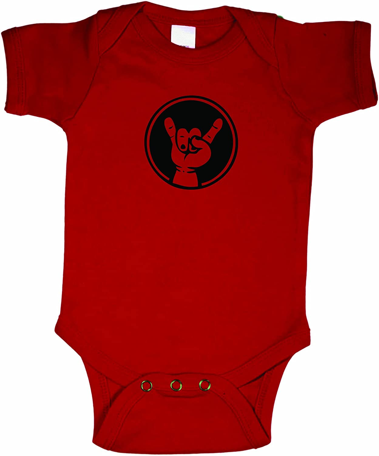 Baby Rock On Hand Awesome Creeper Bodysuit RED w/Black (12-18 Months)