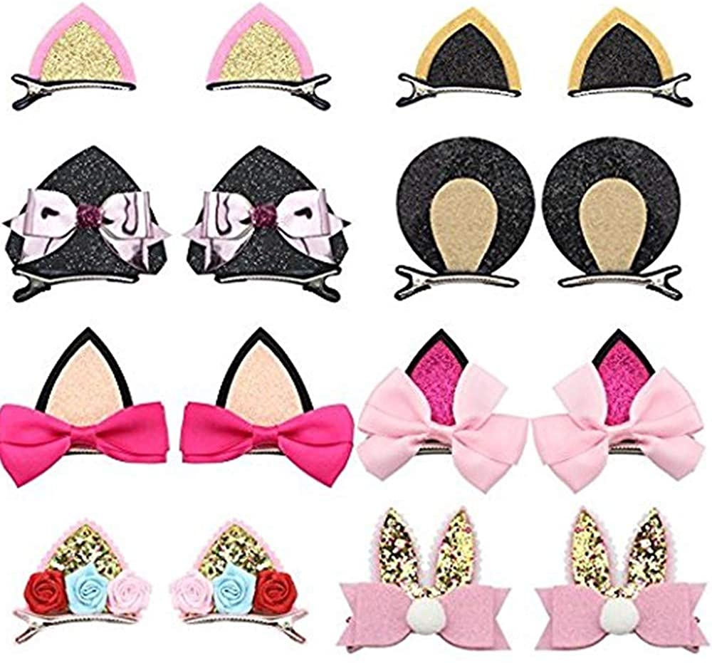 Aivivo Cute Glitter Sparkly Cat Ear Hair Clips Animal Hair Pins Barrettes for Infants Toddlers Baby Girls Daily Wearing Party Decoration (16 Pack)