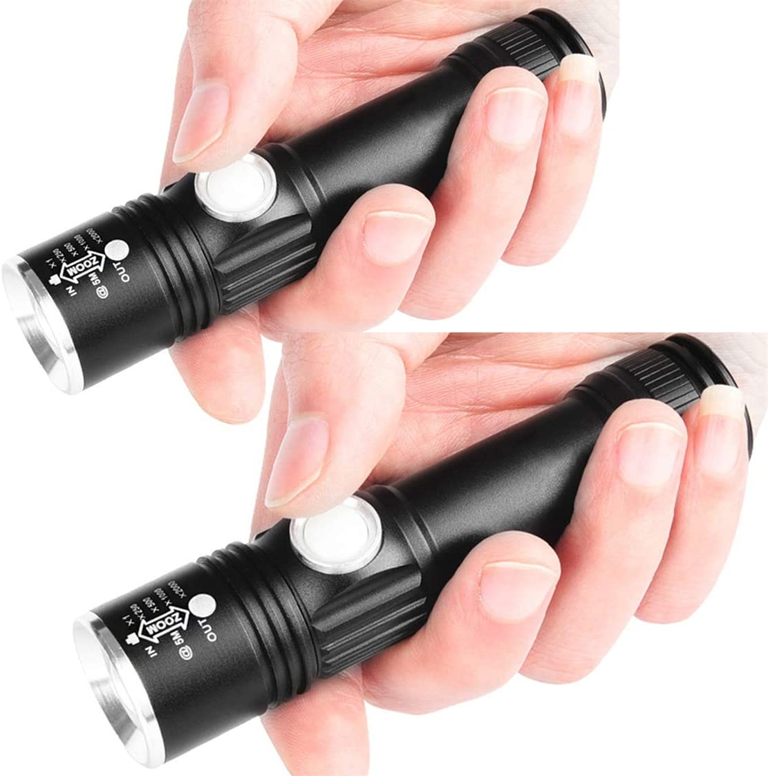 Aceyyk Tactical LED Flashlights 2 Pack, Led USB Rechargeable Flashlight, Handheld Flashlight LED Tactical, with 3 Modes Zoom Function Ultra Bright Torch for Camping Emergency Use