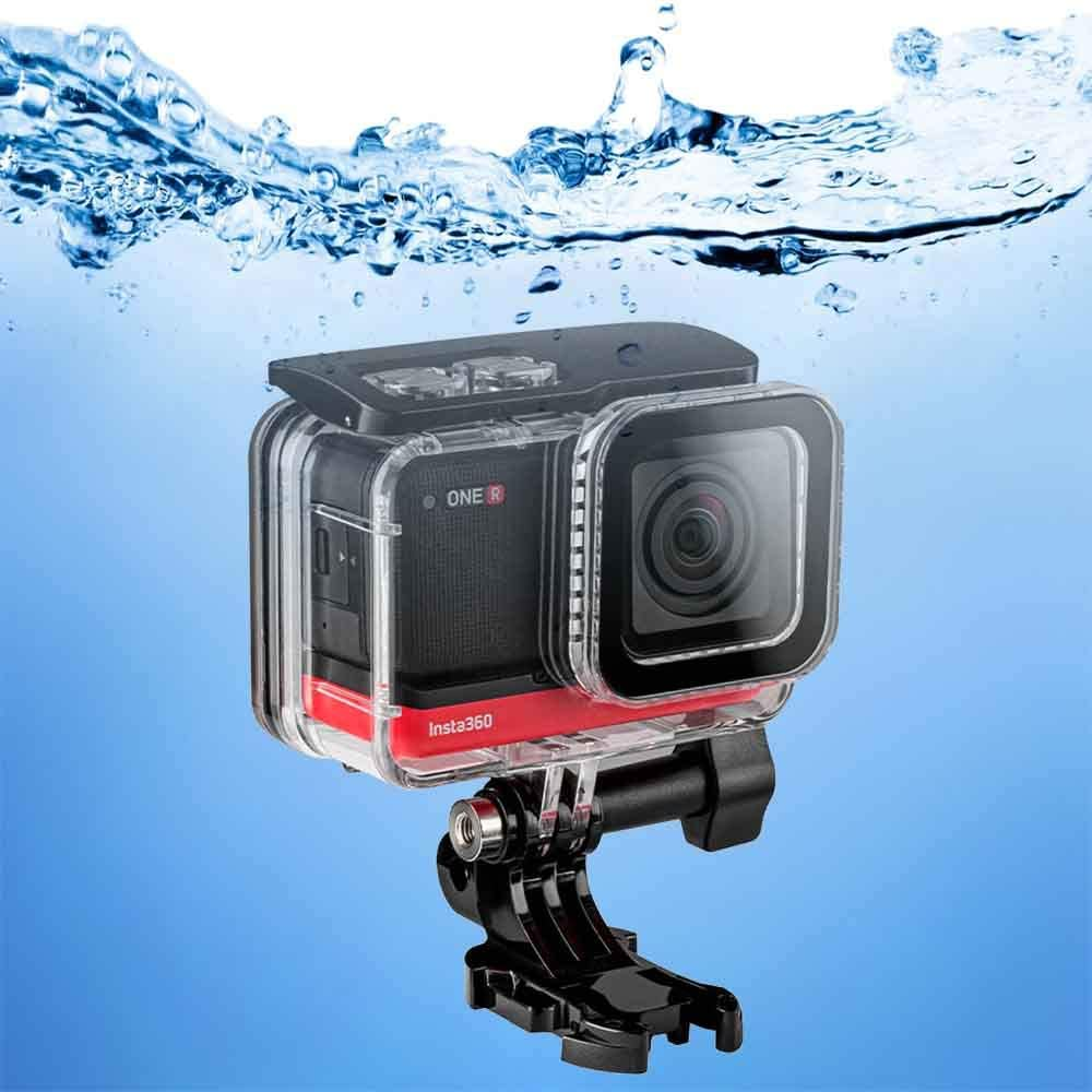 Dive Case for Insta360 ONE R 4K Wide Angle Mod, TELESIN Waterproof Housing Underwater Diving Protective Shell 40M/131FT with Quick Release Mount and Thumbscrew Accessory -12 PCS Anti-Fog Insert Kits