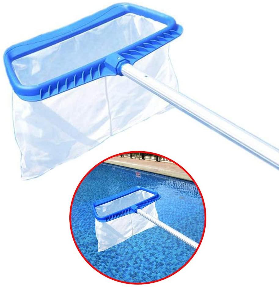 SqSYqz Pool Skimmer, Swimming Pool Pond Flat Net/Pool Skimmer Fine Mesh Pool Net Deep Bag for Cleaning Swimming Pool Leaves & Debris (White)