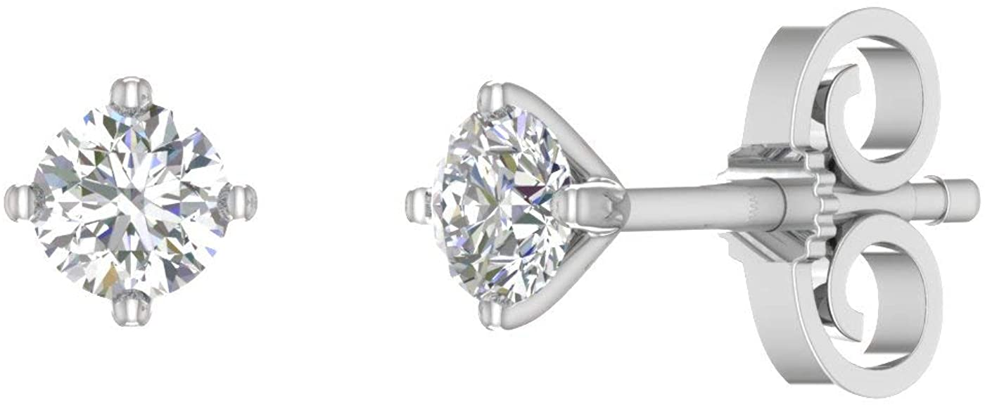 1/3 Carat 4-Prong Diamond Stud Earringsin 925 Sterling Silver