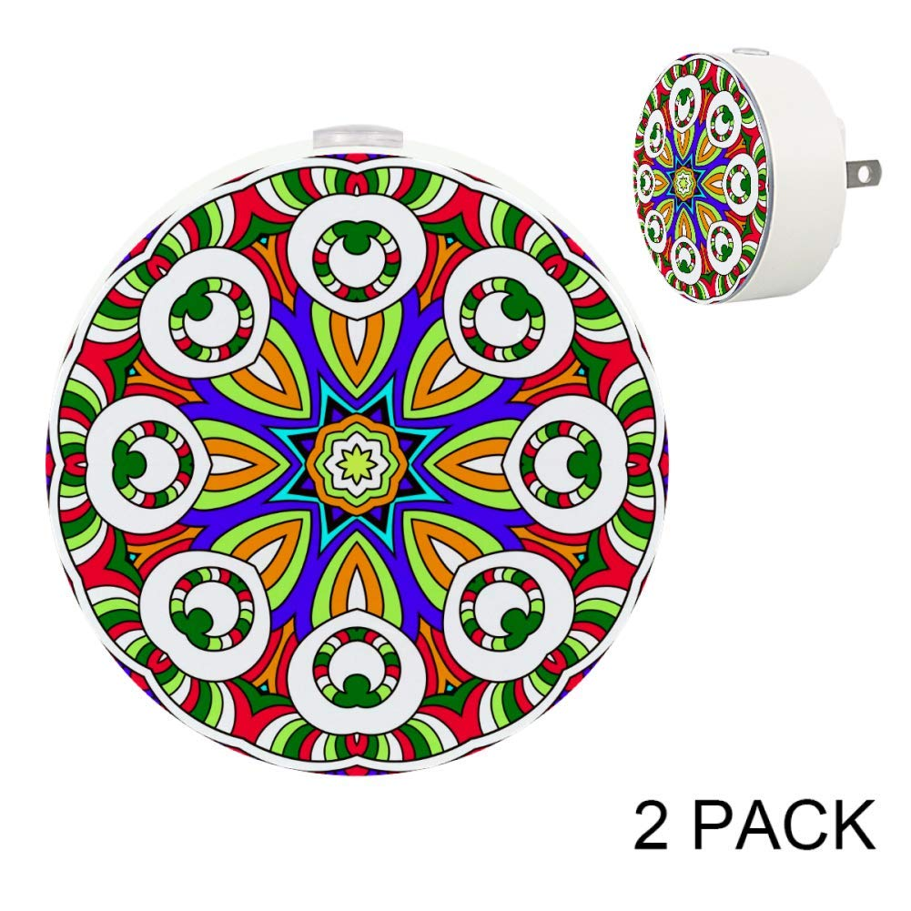 Circle Lace Motif Floral Mandala Dusk to Dawn Auto On/Off Energy Saving Sensor Lights for Babies