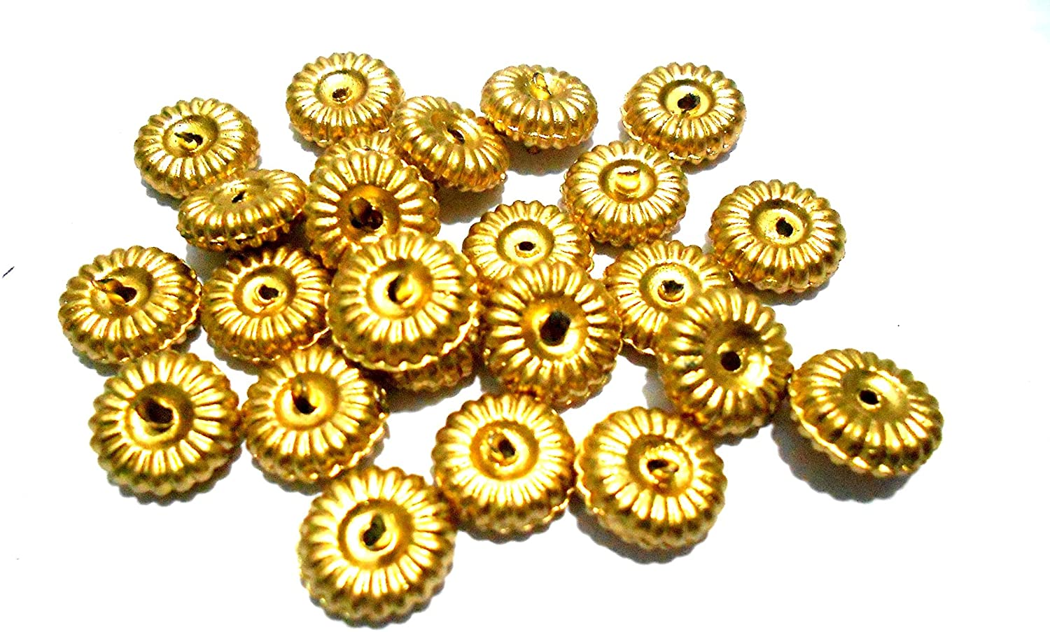 GOELX Dull Gold Acrylic Disc Beads 8Mm for Jewelry Making/Crafts