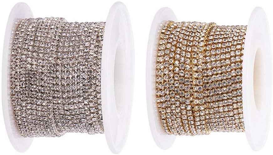BENECREAT 2 Rolls 10 Yard 2mm Crystal Rhinestone Close Chain Clear Trimming Claw Chain Sewing Craft - Crystal (Silver & Gold Bottom)
