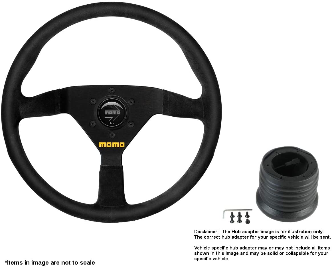 MOMO MOD.78 320mm (12.6 Inches) Suede Steering Wheel w/Brushed Black Anodized Spokes and Hub Adapter for BMW 3 Series E30 Part # R1909/33S + 2006
