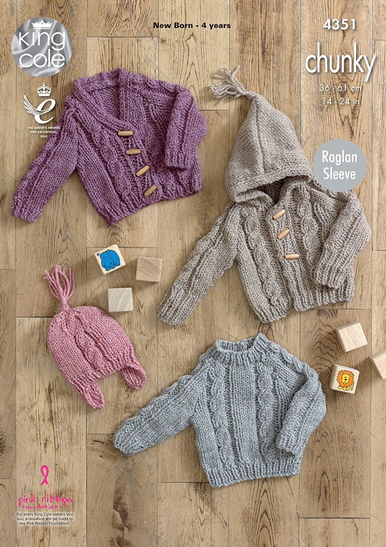 King Cole Baby Knitting Pattern Raglan Sleeve Sweater Cardigans & Hat Magnum Chunky (4351)