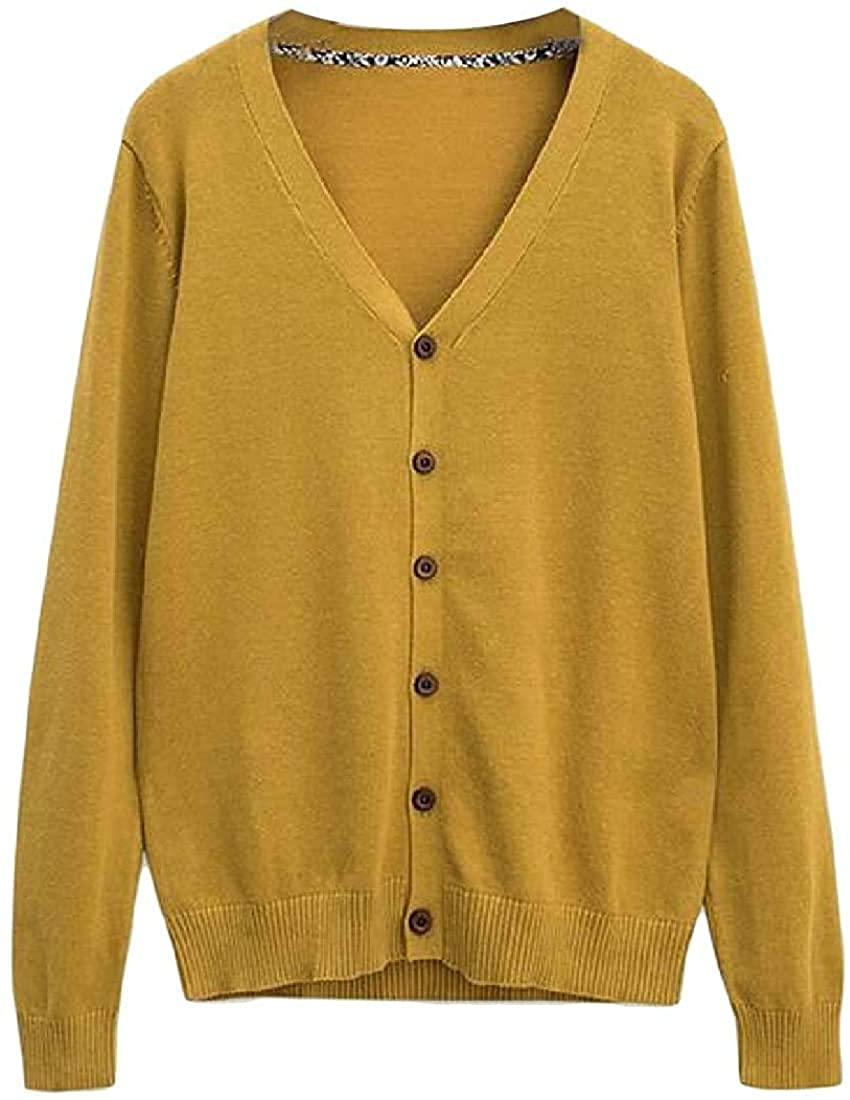 Men Button Up Open-Front Cardigan Solid Color V-Neck Knitted Fall Winter Sweater Jumper