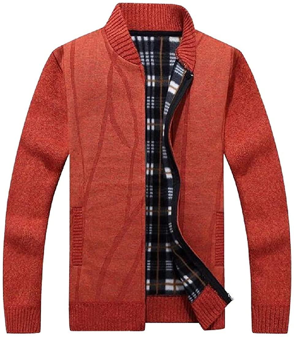 Mens Long Sleeve Printed Zipper Warm Casual Zipper Stand Collar Sweater Cardigan