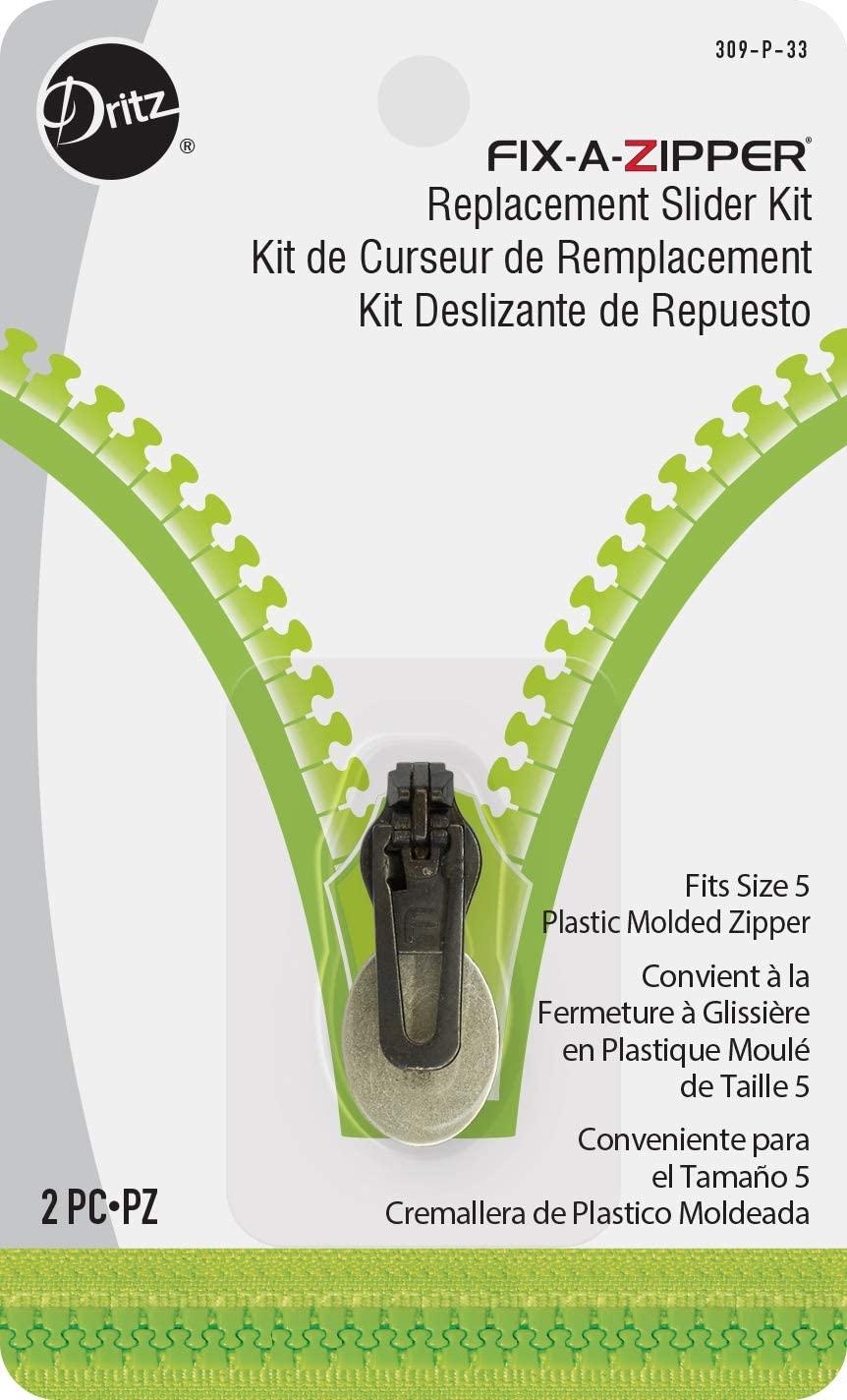 Dritz 309-P-33 Fix-A-Zipper Replacement Slider Kit for Size 5 Plastic Zipper, Gunmetal