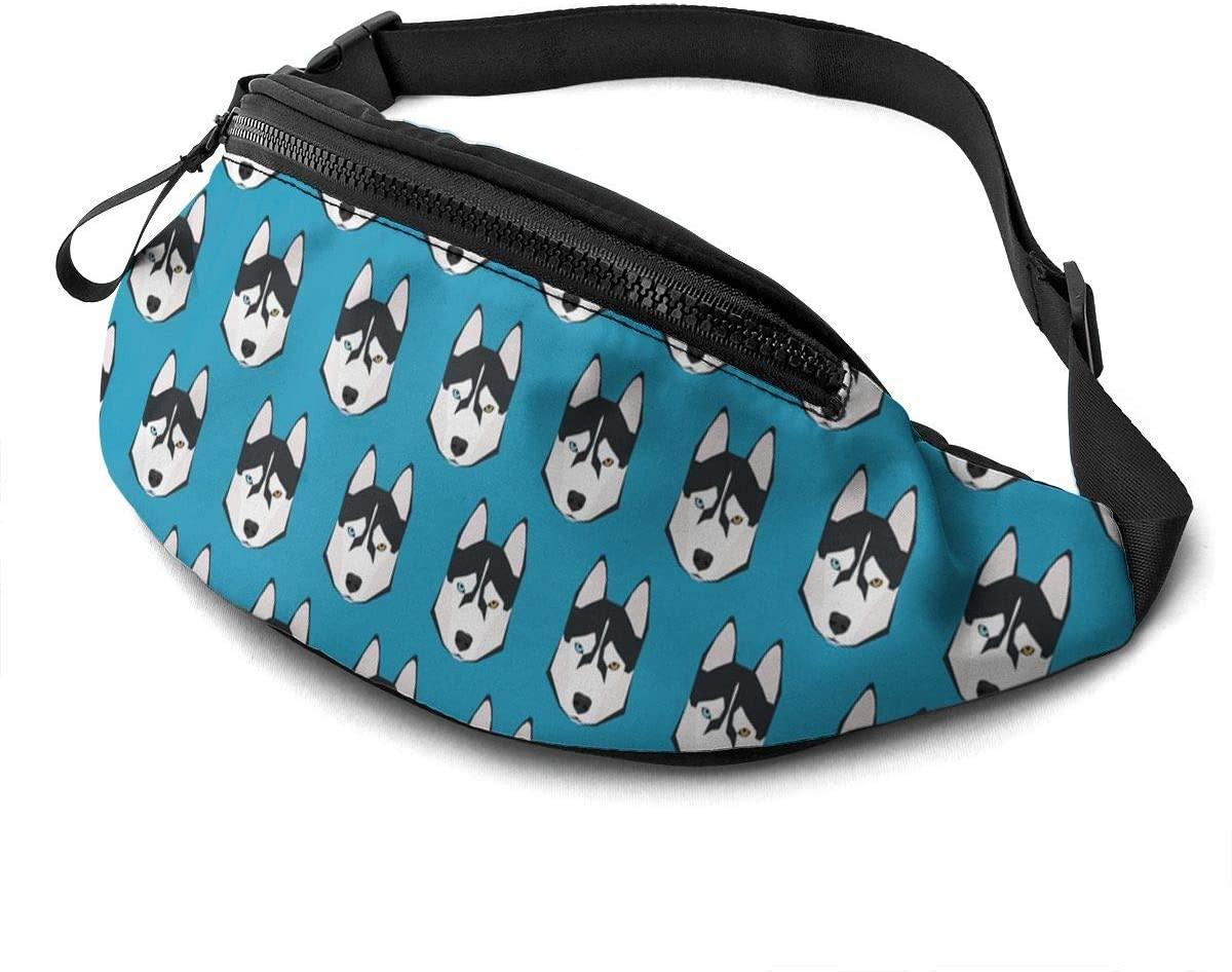 Siberian Husky bule background Fanny Pack for Men Women Waist Pack Bag with Headphone Jack and Zipper Pockets Adjustable Straps
