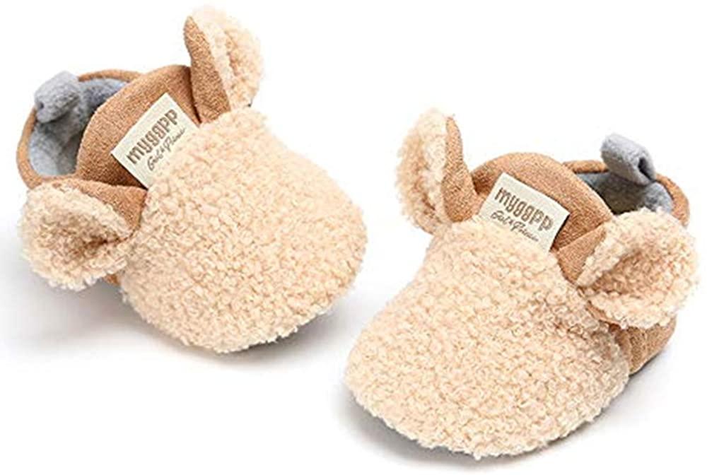 RVROVIC Baby Boys Girls Cozy Fleece Booties with Non Skid Bottom Warm Winter Socks (0-6 Months Infant, A-Khaki)