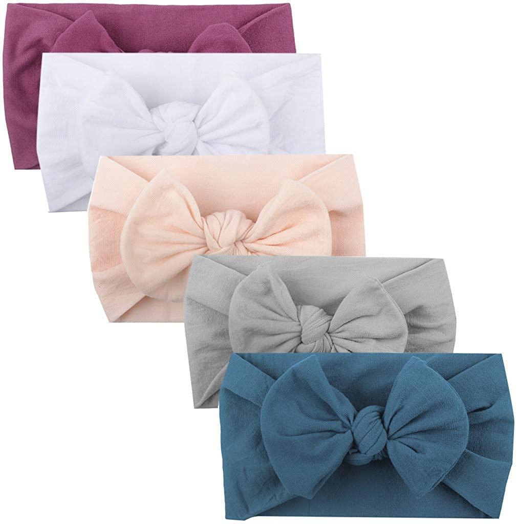 Yanvan Baby Headwear,5PCS Girls Baby Toddler Turban Solid Headband Hair Band Bow Accessories Headwear (A)