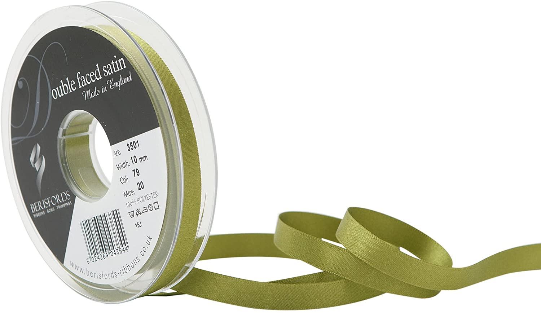Berisfords 3501 Double Faced Satin Ribbon, 10 mm, Moss