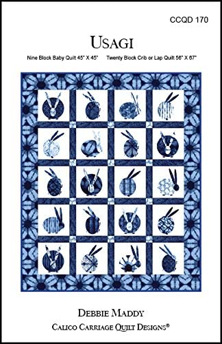 Calico Carriage Quilt Pattern - Usagi Quilt Pattern for 9 Blocks (45
