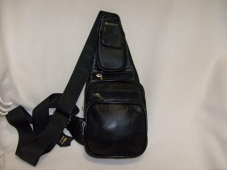 Black Genuine Leather Sling Chest Cross-Body Unisex Bag
