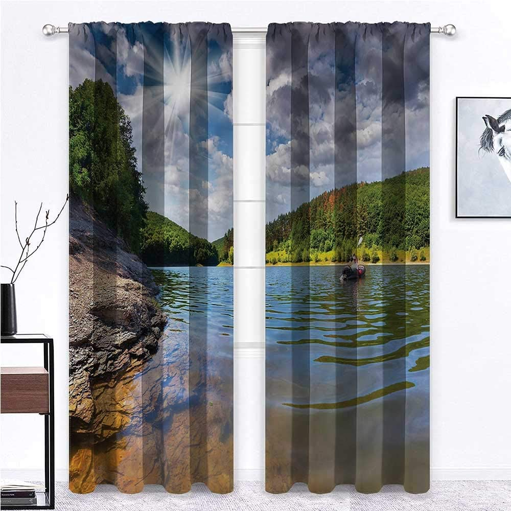 GugeABC Outdoor Curtains for Patio Waterproof River Panel Thermal Insulated Light Blocking Drape People on Canoe Fluffy Clouds 72 x 72 Inch (2 Panels)