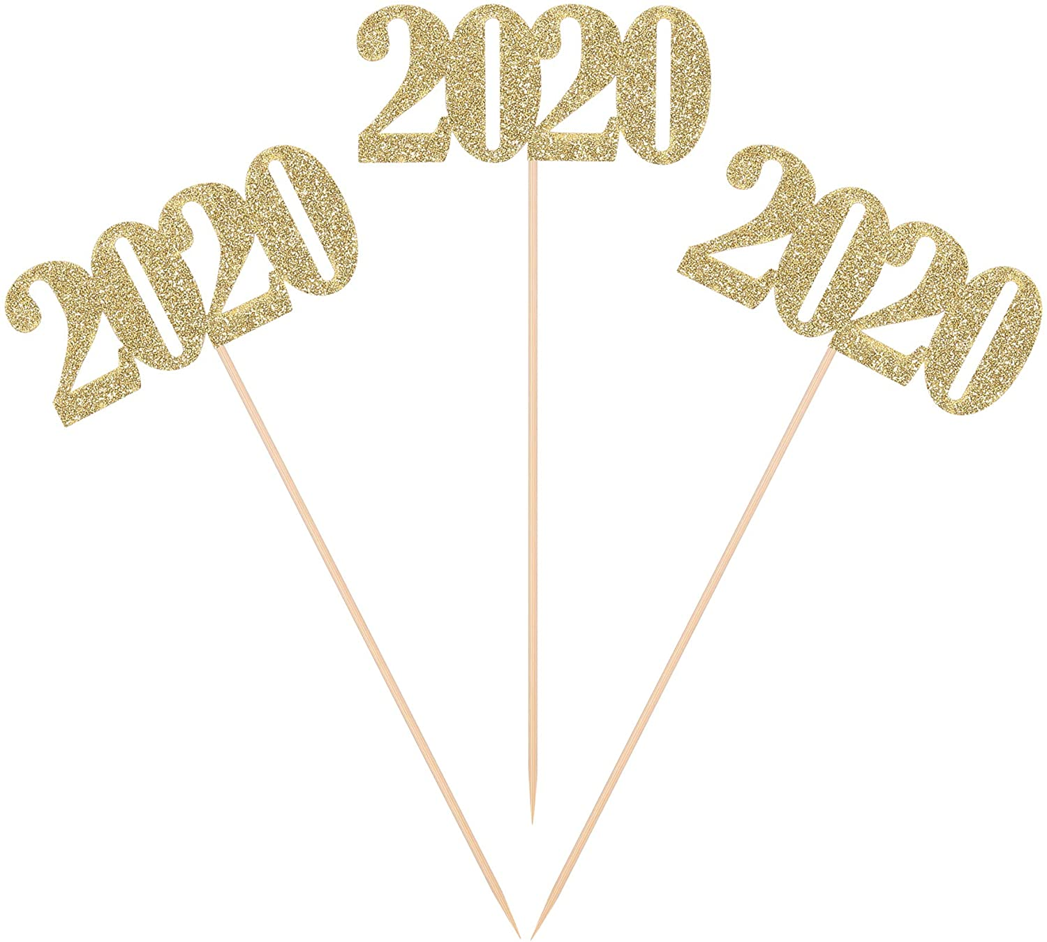 Pack of 10 Gold Glitter the Year of 2020 Centerpiece Sticks Graduation Party Decorations