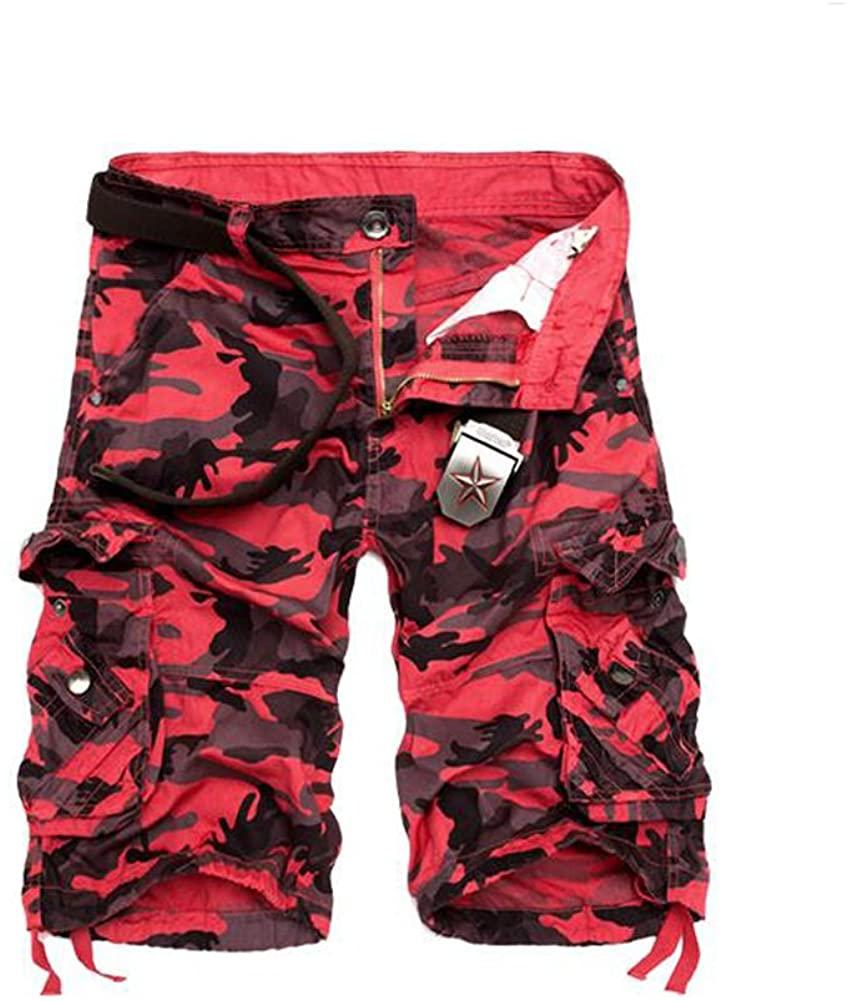 Tonwhar 2015 Fashion Men's Utility Camo Shorts (32, red camo)