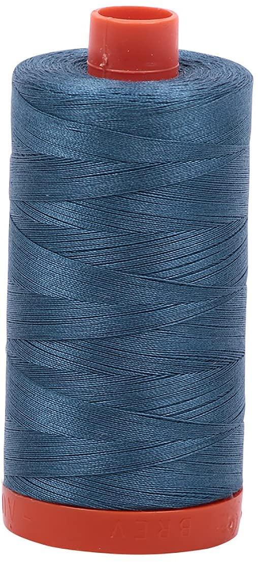Aurifil A1050-4644 Mako Cotton Thread Solid 50wt 1422yds ,Smoke Blue