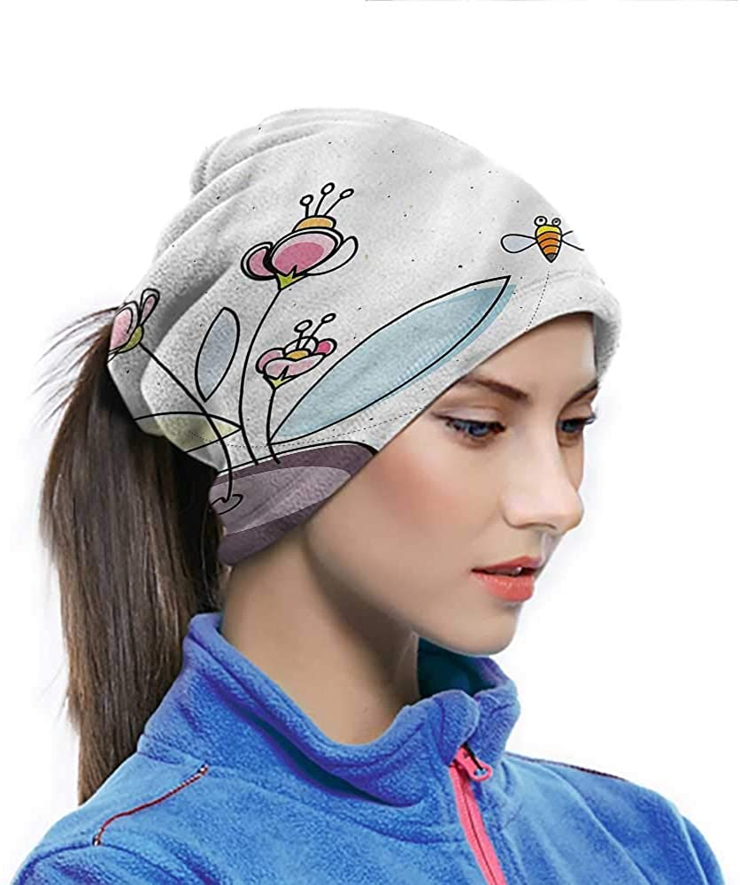 Balaclava Headwear Floral, Flower Pot with Blossoms Sport Sweatband Sun Protection Cool Lightweight Windproof Breathable 10 x 11.6 Inch