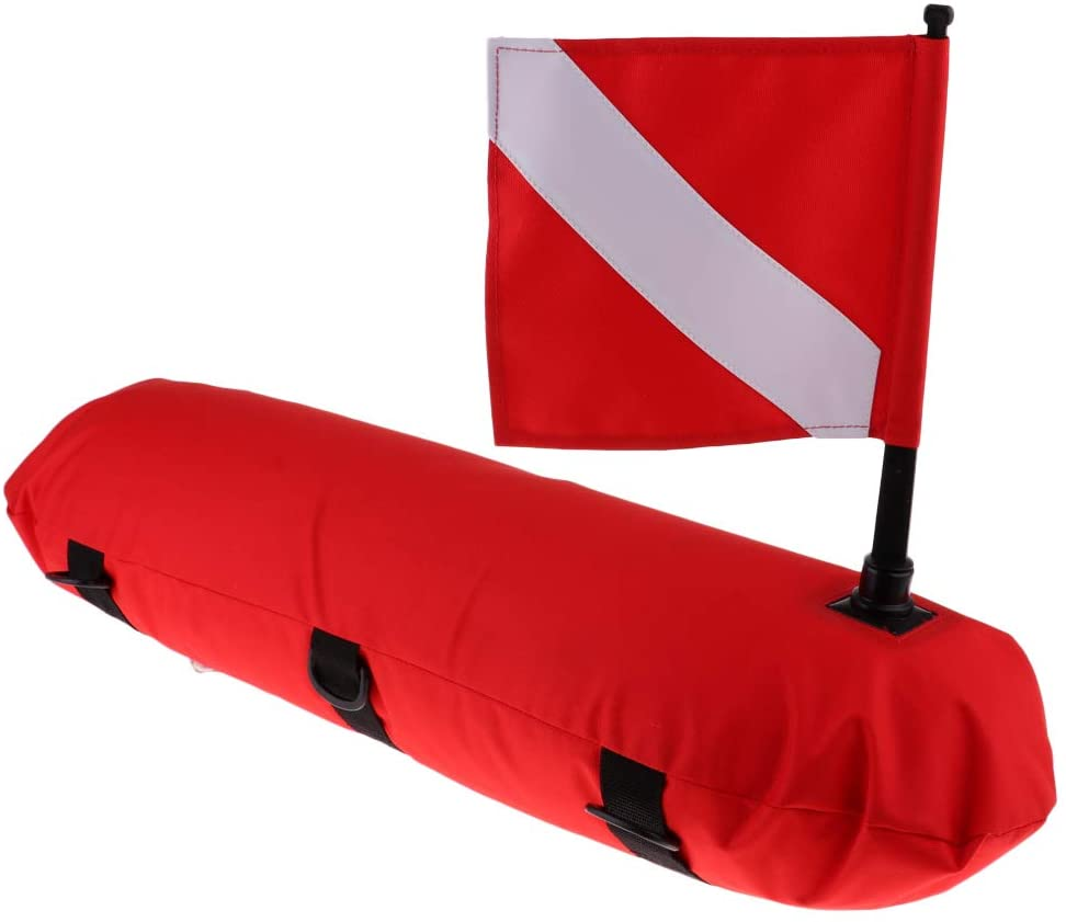 Prettyia High Visibility Diver Down Surface Marker Buoy Signal Float, Dive Flag for Underwater Scuba Diving Spearfishing