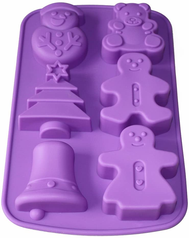 X-Haibei Christmas Sets Ginerbread Man Tree Snowman Silicone Mold Holiday Soap Making Supplies
