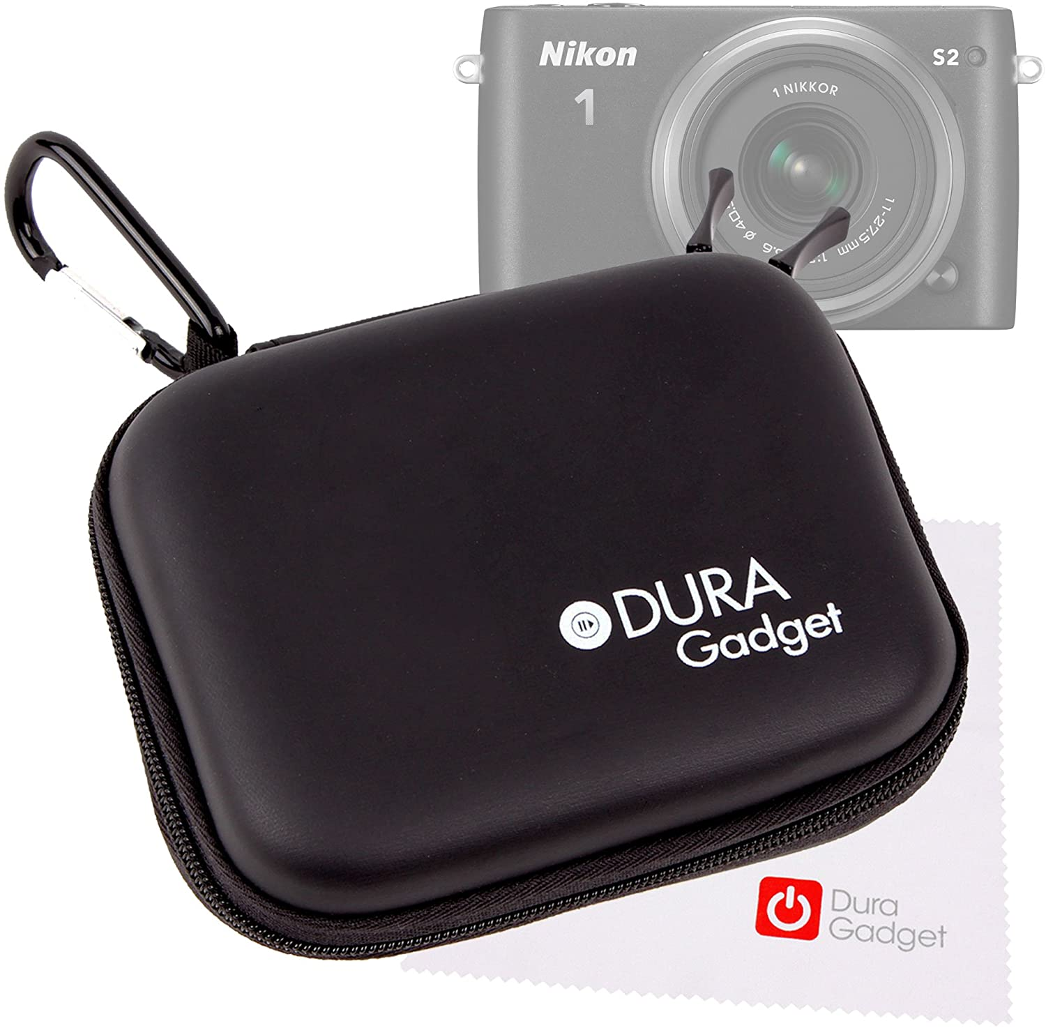 DURAGADGET Black 'Shell' Case w/Belt Clip - Compatible with Nikon 1 S2 + Cleaning Cloth
