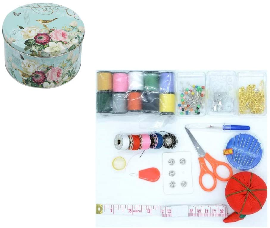 Floral Tinplates Sewing Kits Sewing Boxes and Baskets with Sewing Accessories Kit, Good for Adults/Kids/Girls