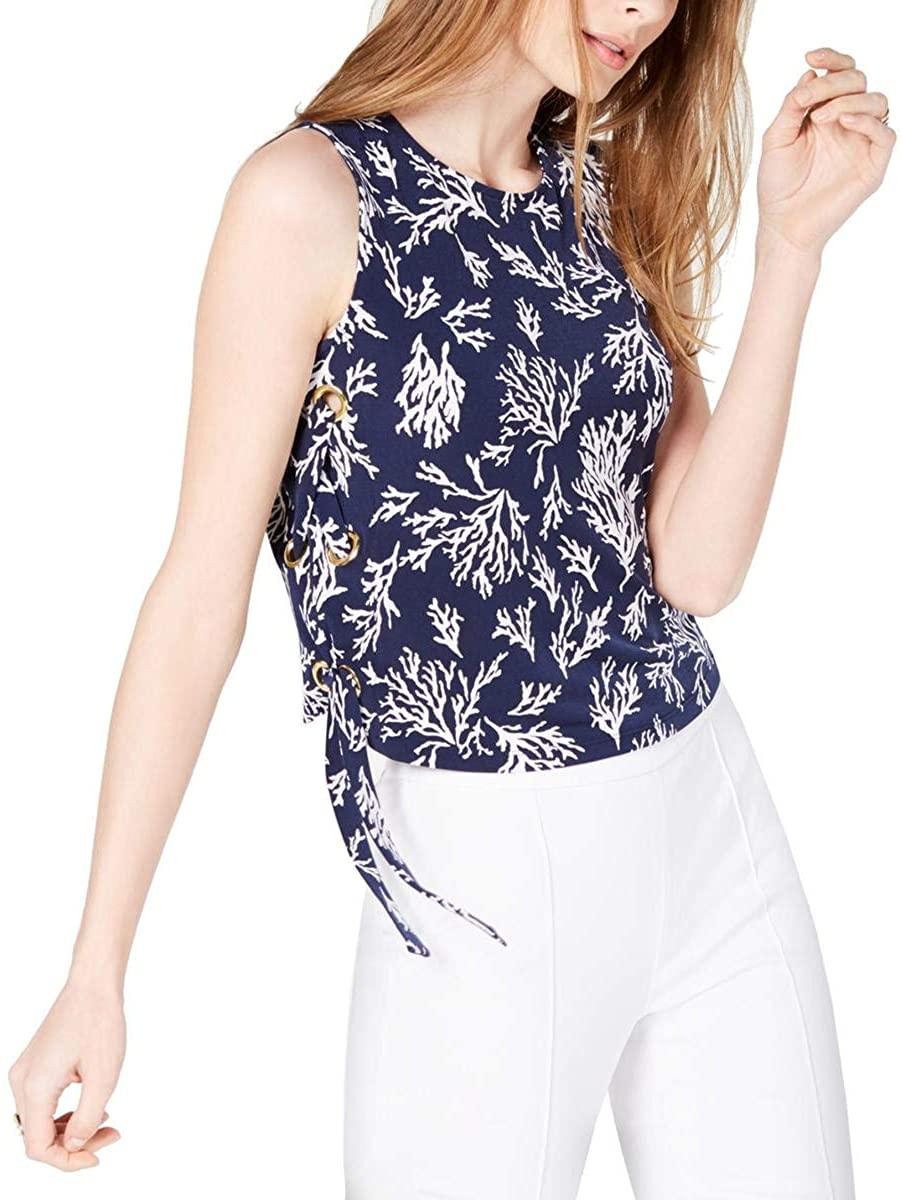 Michael Michael Kors Womens Printed Sleeveless Blouse