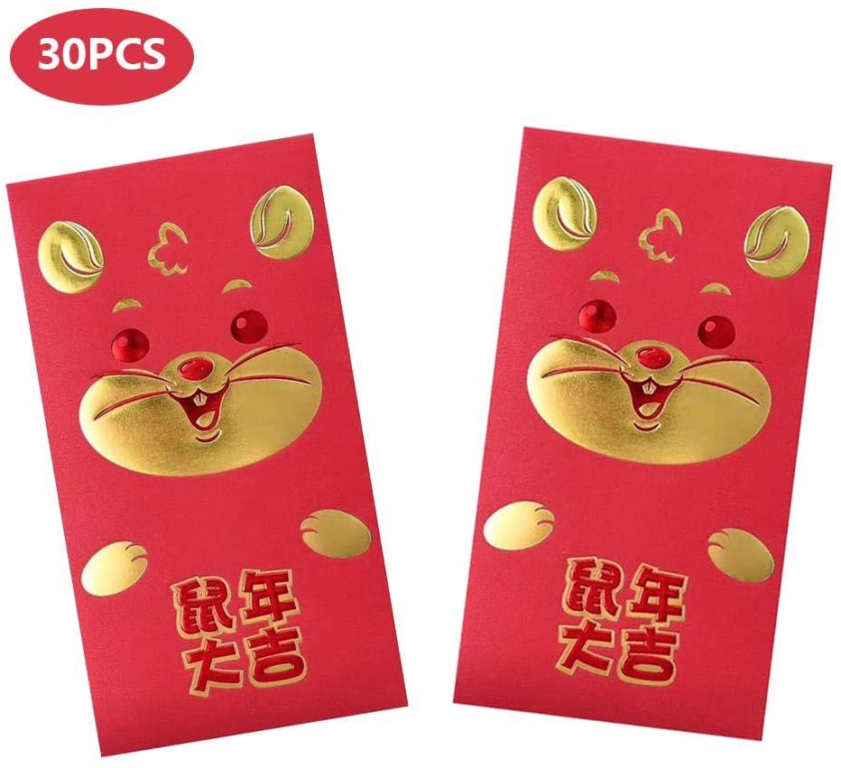 Pack-30 Chinese Red Envelopes - Chinese Red Pockets,Lucky Money Gift Envelopes Red Packet for New Year, Birthday, Wedding, and Baby (16.58.8cm) (Blessing)