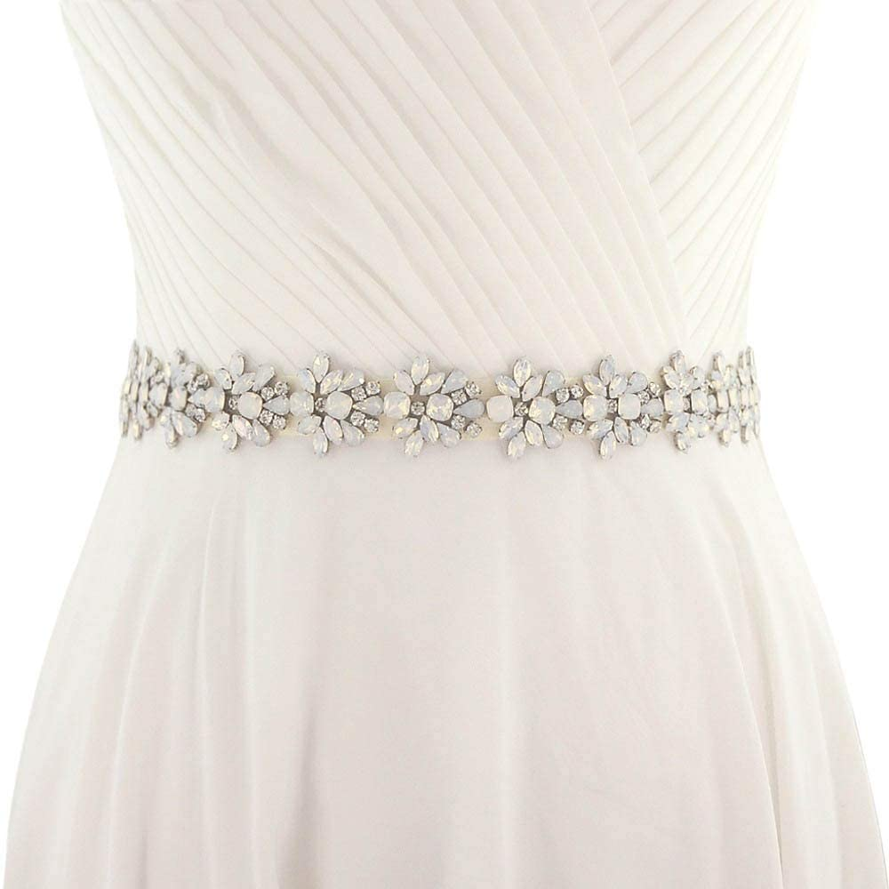 Xuccus White Opal Rhinestones Crystal Applique Trim Wedding Dress Bridal Gown Applique Handmade Bridesmaids Belt Sash by Sewing Hot Fix