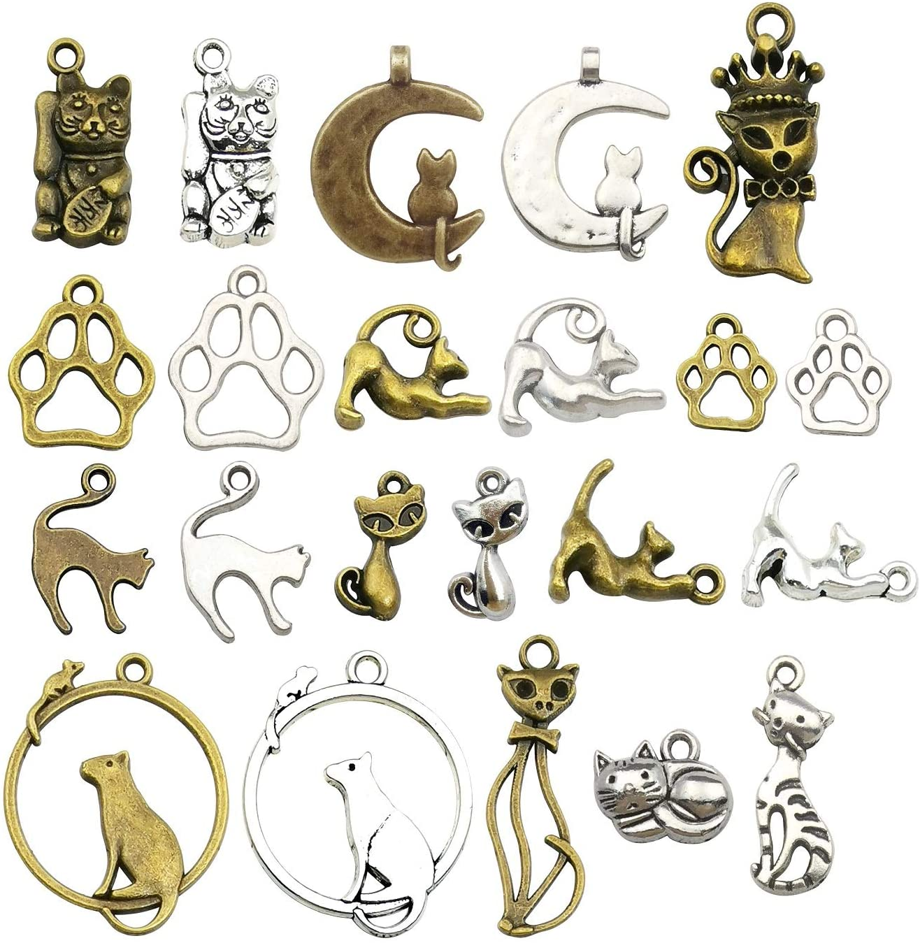 iloveDIYbeads 100g (65pcs) Craft Supplies Small Antique Silver Bronz Animals Cats Charms Pendants for Crafting, Jewelry Findings Making Accessory for DIY Necklace Bracelet (M180)