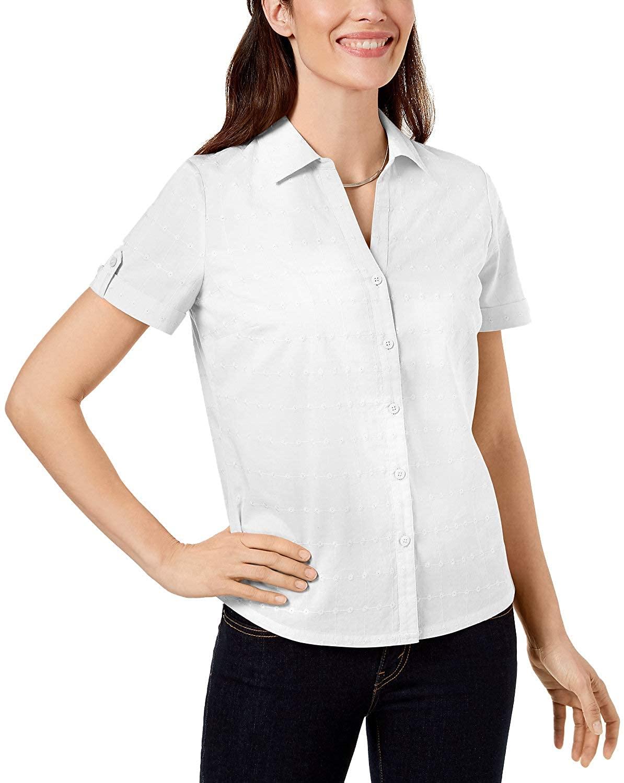 Karen Scott Womens Petite Petite Cotton Eyelet Shirt (Bright White, Petite Small)