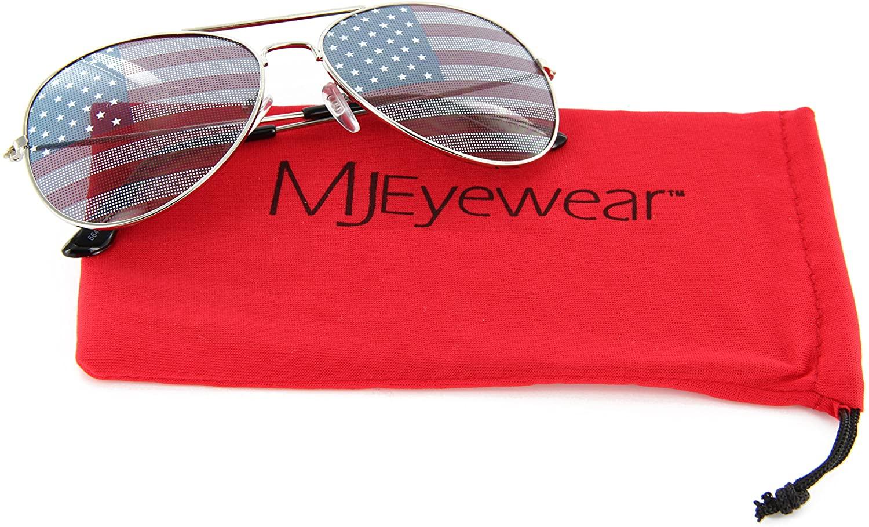 MJ Eyewear Patriotic Aviator Sunglasses American Flag Lens