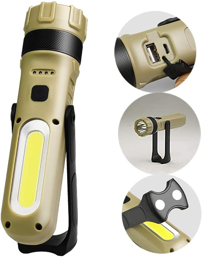 360° Rotatable Working Flashlight, 1000 Lumens Stepless Dimming Torch, Rechargeable, with Magnet on The Tail, with Side Light