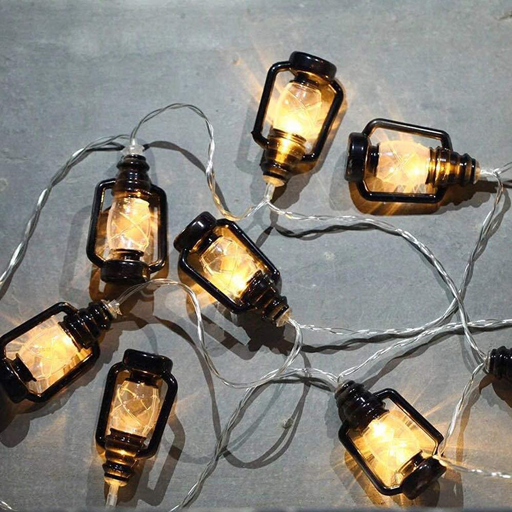 2Krmstr 10 LED Kerosene String Lights,Mini Kerosene Lamp String,Kerosene Lantern String Lights for Ramadan Decoration Home Patio Dorm Camper Decor(Warm Light)