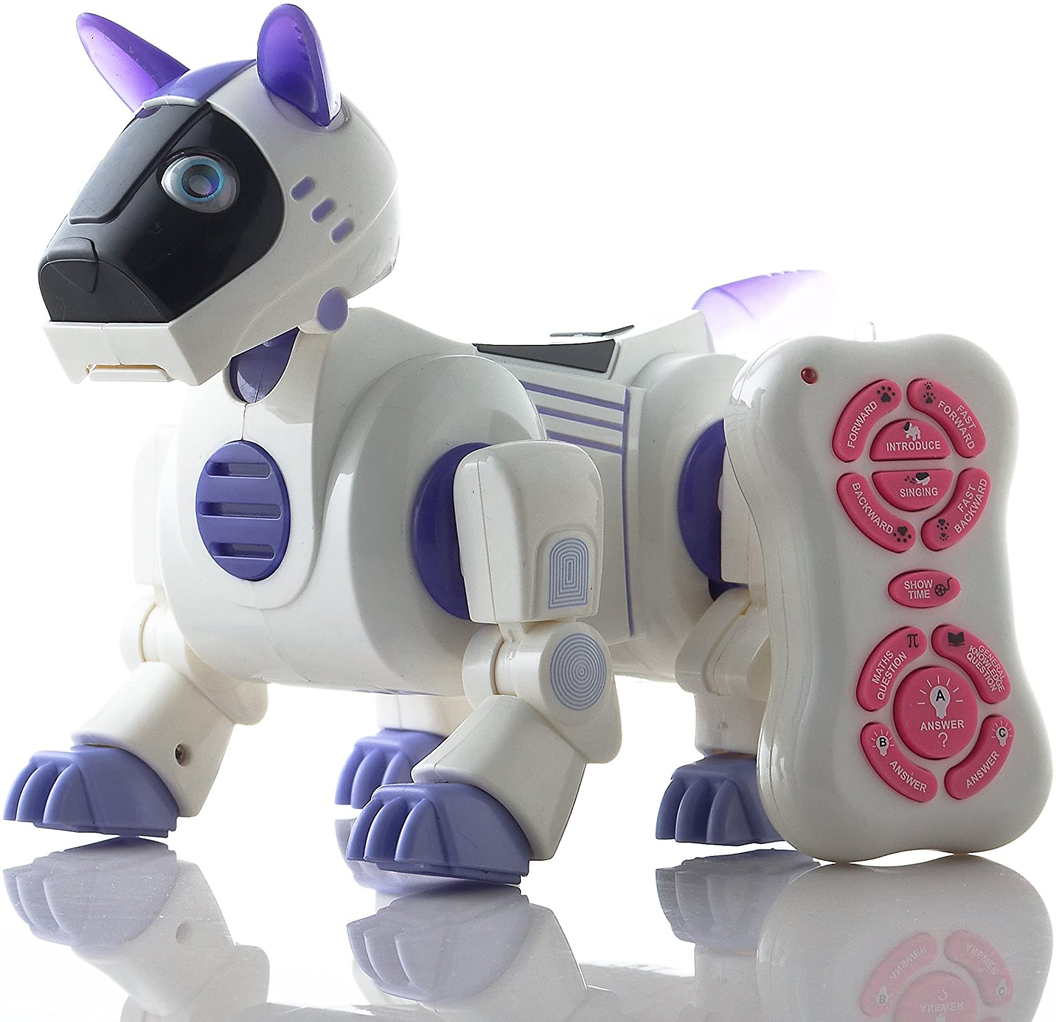 Durherm IR RC Smart Storytelling Sing Dance Walking Talking Dialogue Robot Dog Pet Toy, purple
