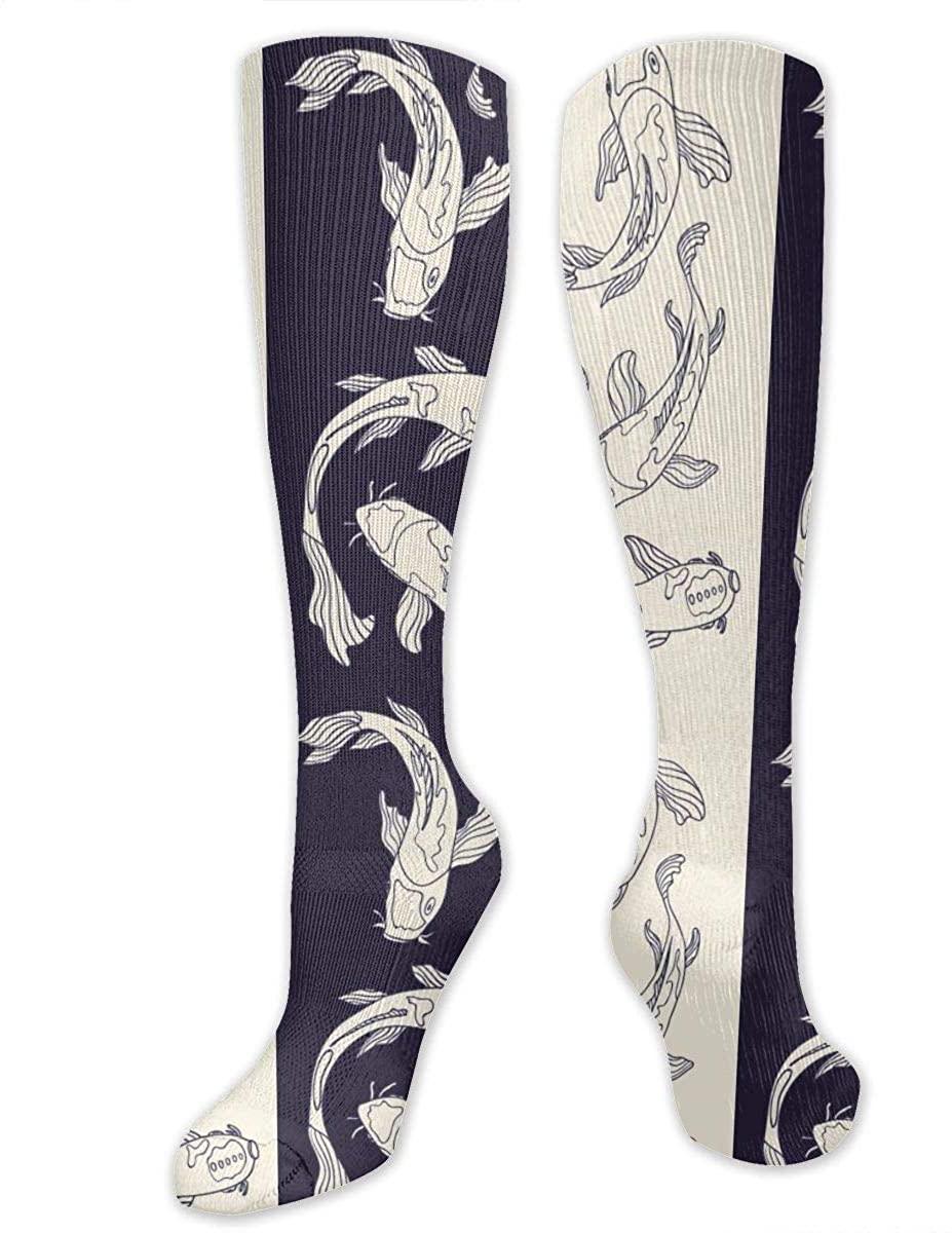 Knee High Socks For Men Women Japan Koi Carp Fish Stripe Training Hose Stockings