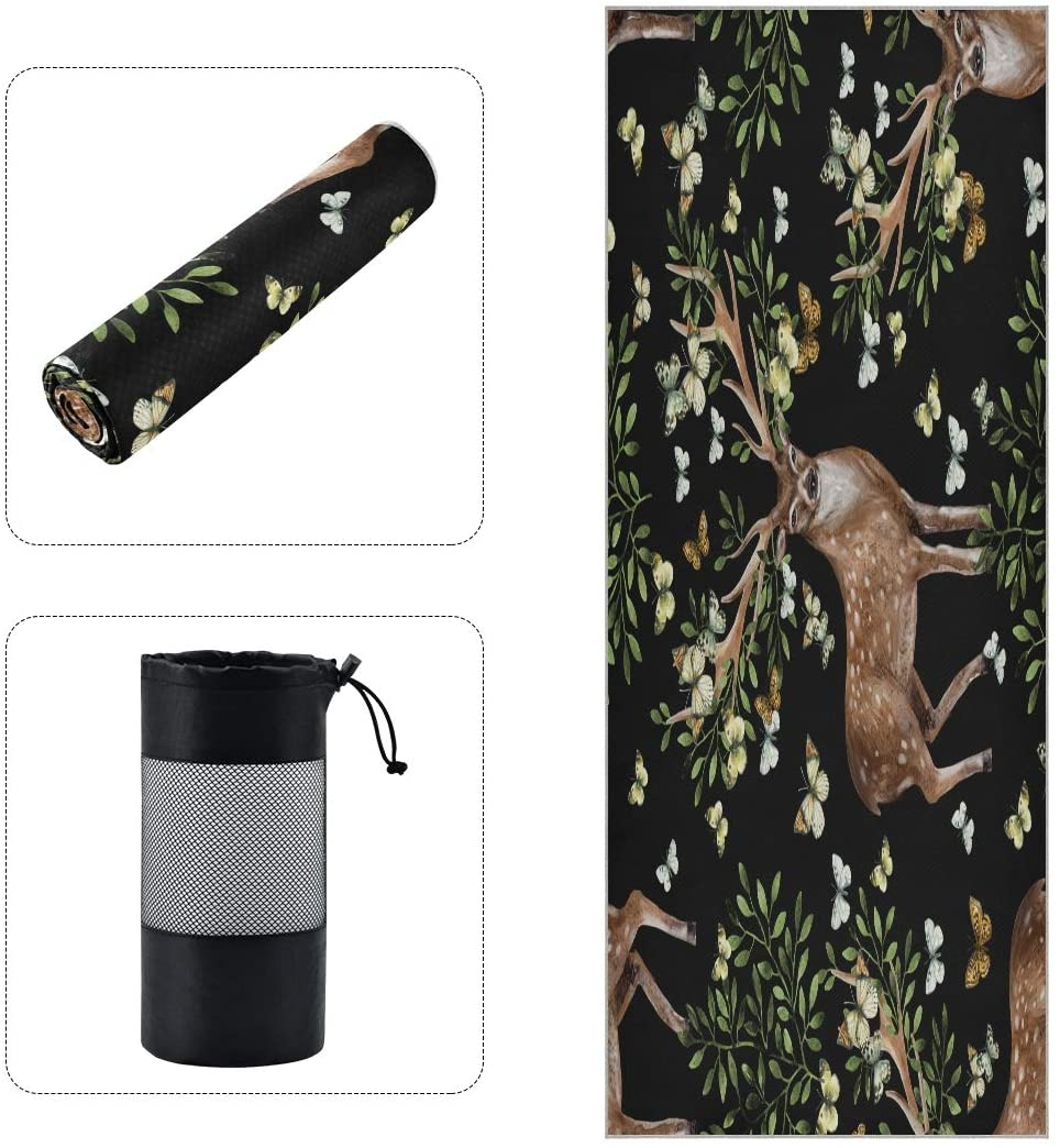 Deer Antlers with Leafs Hot Yoga Mat Towel Non Slip for Pilates, Workout, Gym, Outdoor Fitness